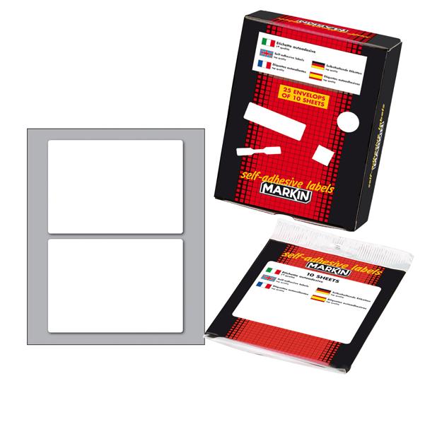 Etichetta adesiva - permanente - rettangolare - 95x66 mm - 2 etichette per foglio - 10 fogli per busta - bianco - Markin