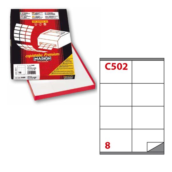 Etichetta adesiva C502 - permanente - 105x72 mm - 8 etichette per foglio - bianco - Markin - scatola 100 fogli A4