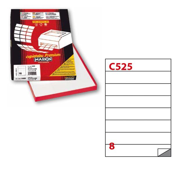 Etichetta adesiva C525 - permanente - 210x37 mm - 8 etichette per foglio - bianco - Markin - scatola 100 fogli A4