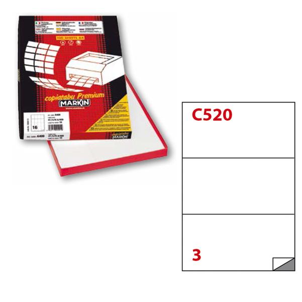 Etichetta adesiva C520 - permanente - 210x99 mm - 3 etichette per foglio - bianco - Markin - scatola 100 fogli A4