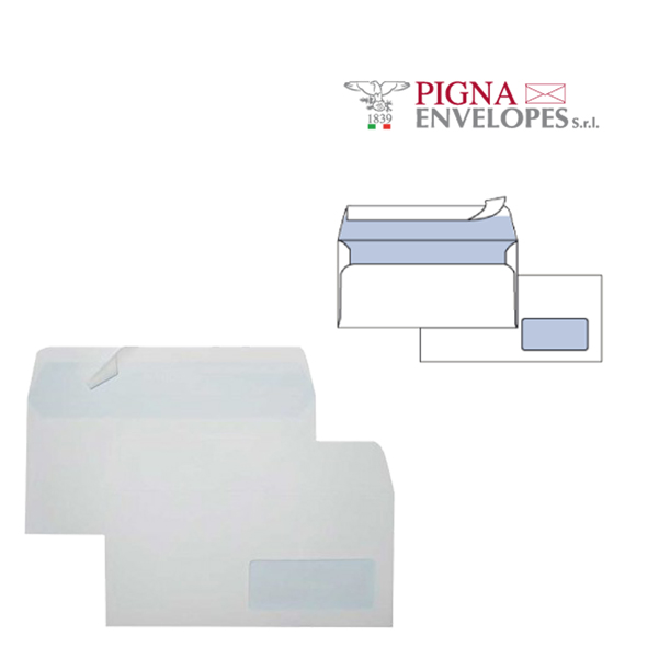 Busta bianca con finestra - serie Edera Strip - 110x230 mm - 90 gr - Pigna - conf. 25 pezzi