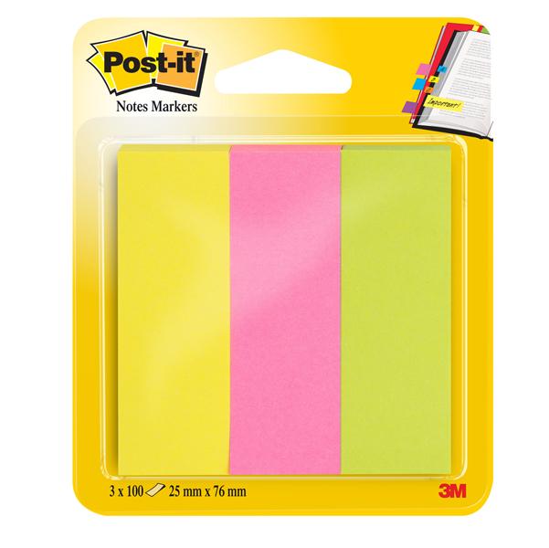 Segnapagina Post it® in carta - 25x76 mm - 3 colori Neon - Post it® - conf. 300 pezzi