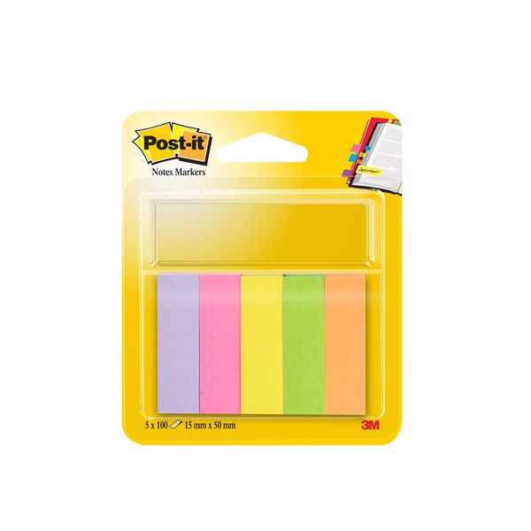 Segnapagina Post it® in carta - 15x50 mm - 5 colori Neon - Post it® - conf. 500 pezzi