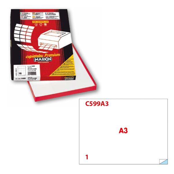 Etichetta adesiva C599 - permanente - 420x297 mm - 1 etichetta per foglio - bianco - Markin - scatola 100 fogli A3