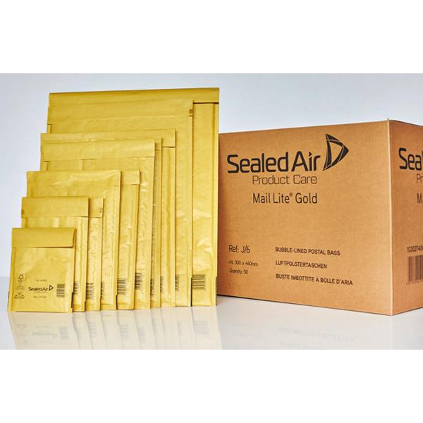 Busta imbottita Mail Lite® Gold - formato J (30x44 cm) - avana - Sealed Air - conf. 10 pezzi