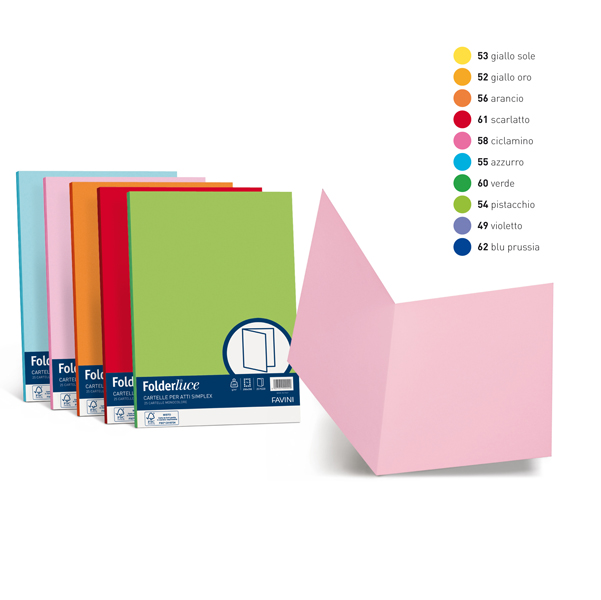 Cartelline semplici Luce - 200 gr - 25x34 cm - azzurro - Favini - conf. 50 pezzi