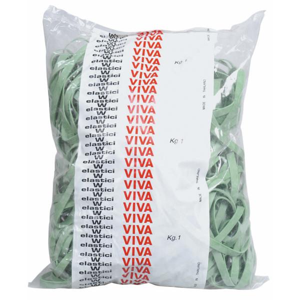 Elastici fettuccia - ø 12 cm - verde - Viva - sacco da 1 kg
