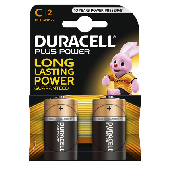 Pile mezza Torcia C Plus MN1400 - Duracell - blister 2 pezzi