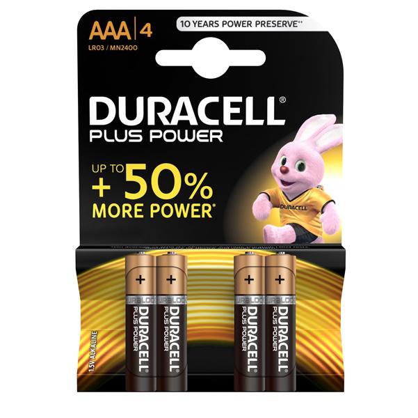 Pile Mini Stilo AAA Plus MN2400 - Duracell - blister 4 pezzi