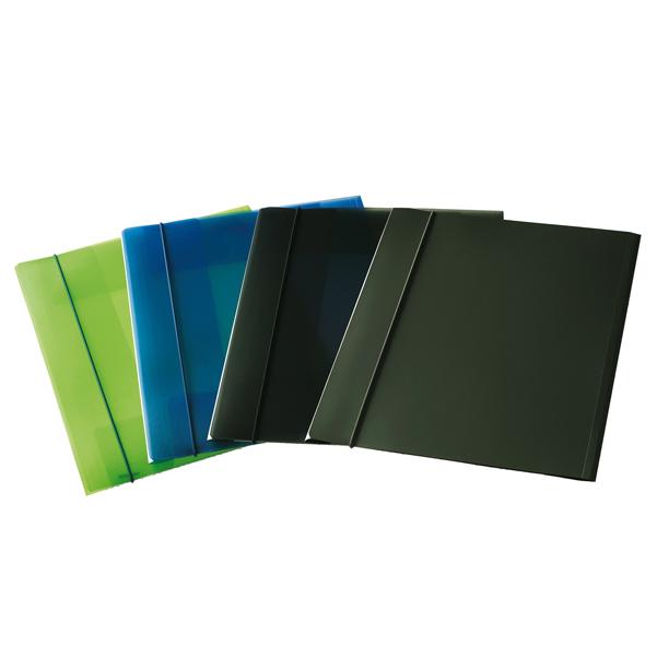 Cartellina con elastico - PPL - 3 lembi - 23,5x34,5 cm - trasparente verde - Fellowes