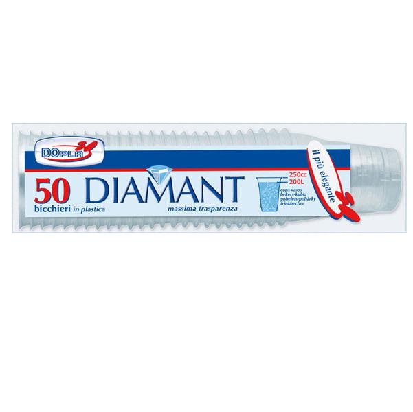 Bicchieri Diamant - monouso - 250 ml - trasparente - Dopla - conf. 50 pezzi