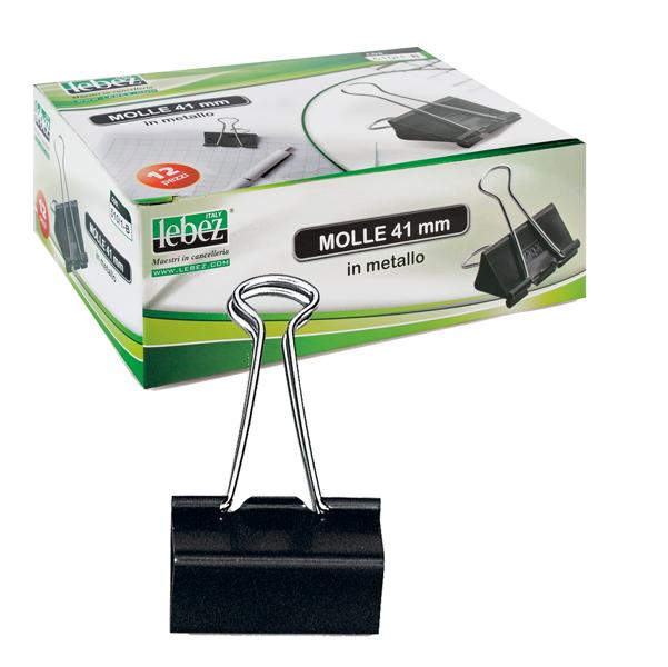 Molle Double Clips - 5,1 cm - nero - Lebez - conf. 12 pezzi