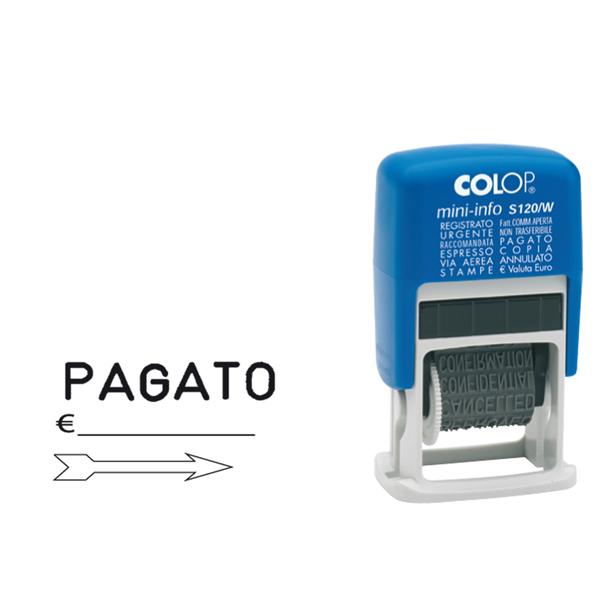 Timbro Mini Info S120/W Polinomio - 12 diciture 4 mm - autoinchiostrante - Colop®