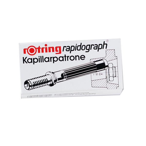 Scatola 3 cartucce capillari per penne Rapidograph - nero - Rotring