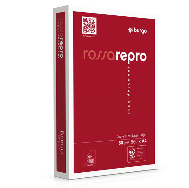Carta fotocopie Rossa Repro 80n - A4 - 80 gr - bianco - Burgo - conf. 500 fogli