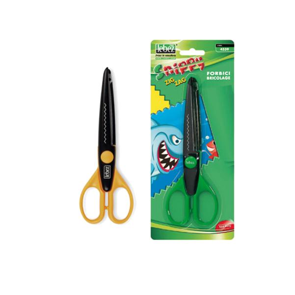 Forbici Snippy Zig Zag - 17 cm - impugnatura plastica - lama in metallo - colori assortiti - Lebez