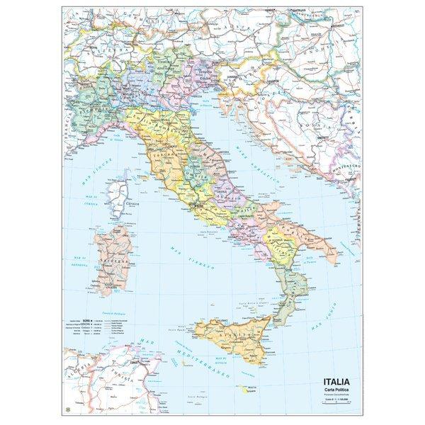Cartina politica italia geografica murale fisica belletti for Carta da parati cartina geografica