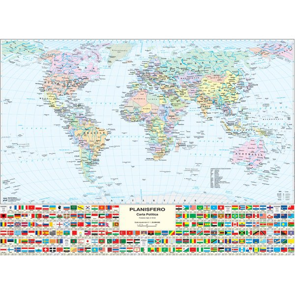 Cartina Fisica E Politica.Carta Geografica Murale Fisica E Politica Mondo Belletti 132x99 Cm Ms02pl Ufficio Com