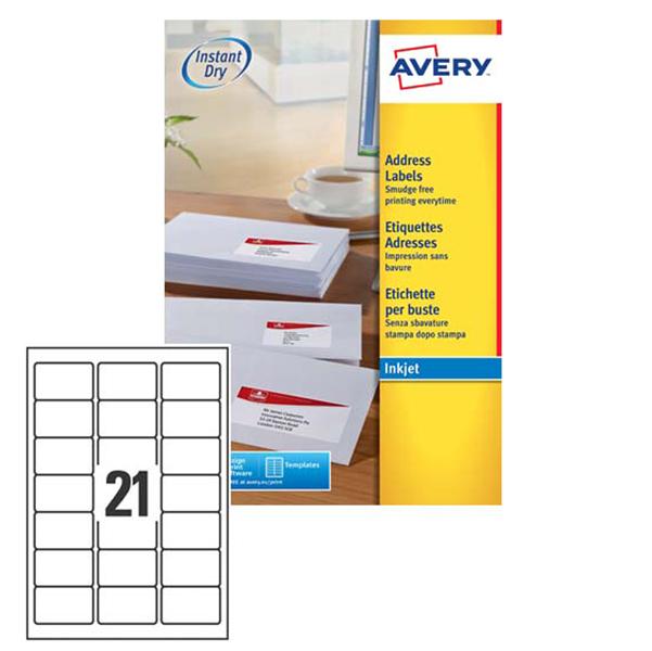Etichetta adesiva J8160 Avery - bianco - adatta a stampanti inkjet - 63.5x38.1 mm - 21 etichetta per foglio - conf. 25 fogli A4