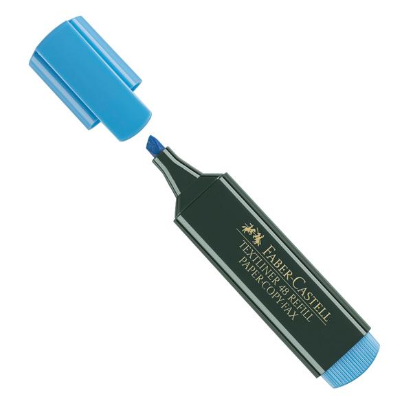 Evidenziatore Textliner 48 -  punta di 3 differenti larghezze: 5,0- 3,0-1,0mm - azzurro - Faber Castell - conf. 10 pezzi