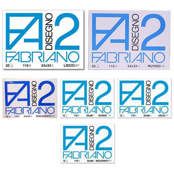 Blocco F2 - 33x48cm - 12 fogli - 110gr - liscio - squadrato - collato - Fabriano