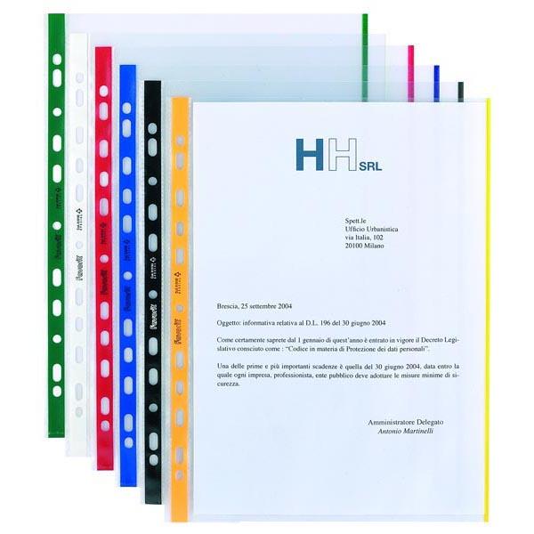 Buste forate con banda colorata - Linear - buccia - 21x29,7 cm - rosso - Favorit - conf. 10 pezzi