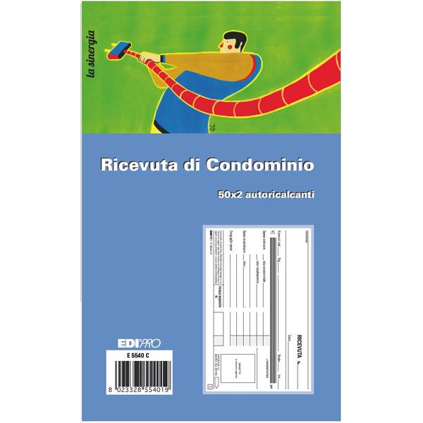 Blocco ricevute condominio - 50/50 fogli autoricalcanti - 9,9 x 17cm - Edipro