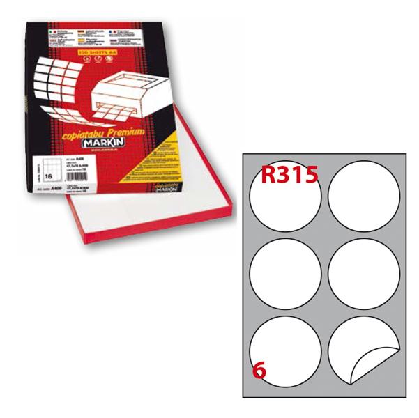 Etichetta adesiva R315 - permanente - tonda ø 85 mm - 6 etichette per foglio - bianco - Markin - scatola 100 fogli A4