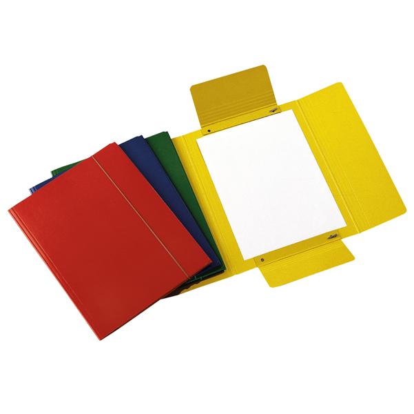 Cartellina con elastico - presspan - 3 lembi - 700 gr - 25x34 cm - rosso - Cartotecnica del Garda