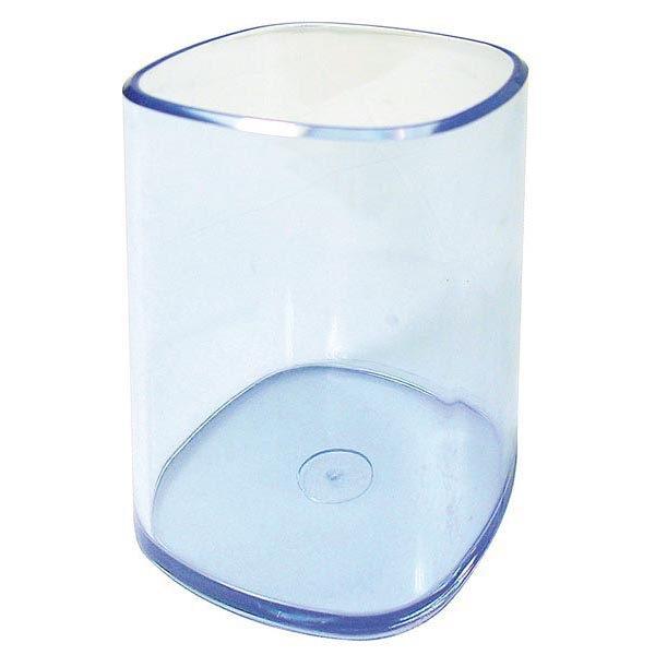 Portapenne a bicchiere - 6,5x6,5x9,5 cm - trasparente blu - Arda