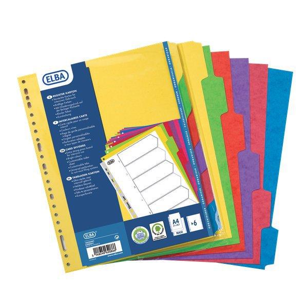 Divisori neutri in cartoncino rigido colorato