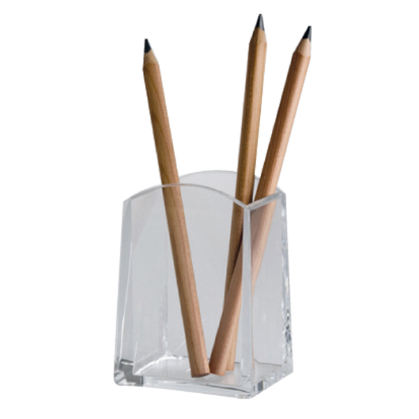 Portapenne a bicchiere Mr Acrylic - quadrato - 6x4x9,5 cm - trasparente - Tecnostyl