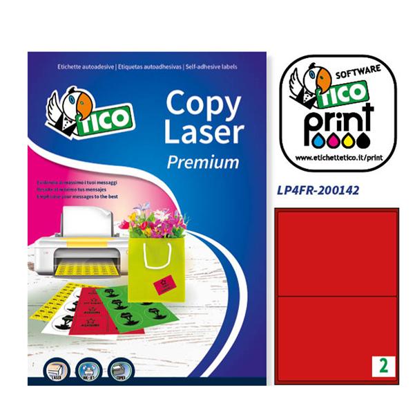 Etichetta adesiva LP4F - permanente - 200x142 mm - 2 etichette per foglio - rosso fluo - Tico - conf. 70 fogli A4