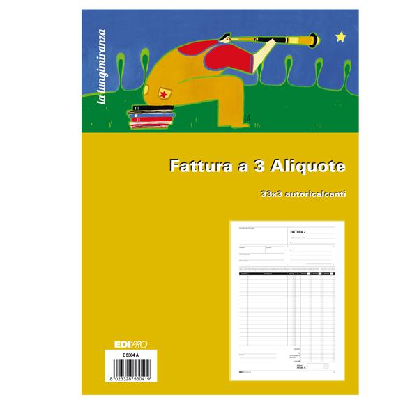 Blocco fatture 3 aliquote Iva - 33 fogli 3 copie autoricalcanti - 29,7 x 21 - Edipro