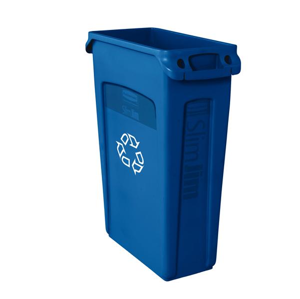 Contenitore con maniglie Slim Jim - logo Riciclabile - 87 lt - blu - Rubbermaid