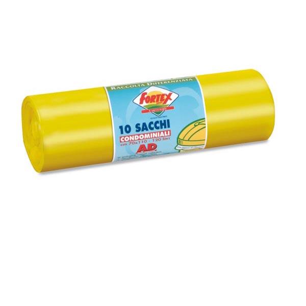Sacchi per immondizia - 70x110 cm - 120 L - 16 micron - giallo - Logex Professional - rotolo da 10 sacchetti