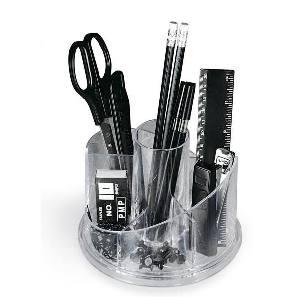 Desk set girevole portatutto - plexiglass - 13x16x12 cm - accessori inclusi - trasparente - Niji Italiana