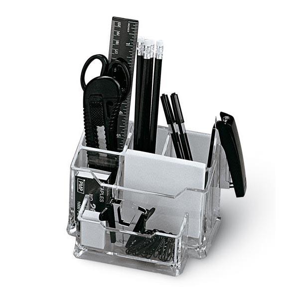 Portatutto da banco - plexiglass - 19x12x10 cm - accessori inclusi - trasparente - Niji Italiana