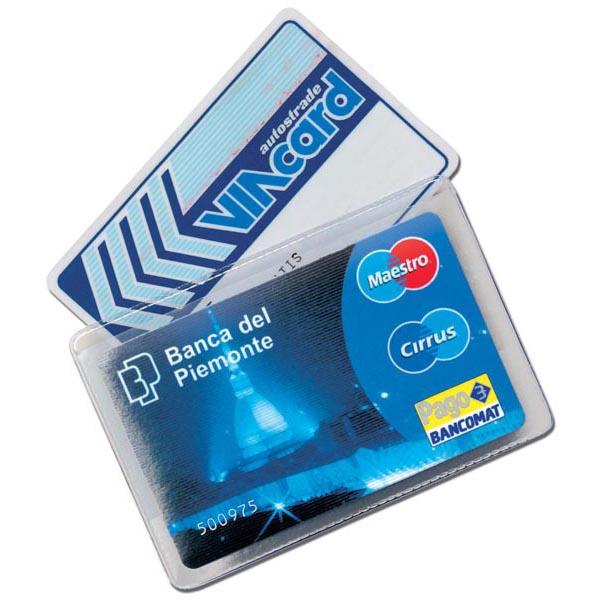 Portacard Cristalcard - per 2 tessere - 9,7x6,3 cm - Alplast - conf. 100 pezzi