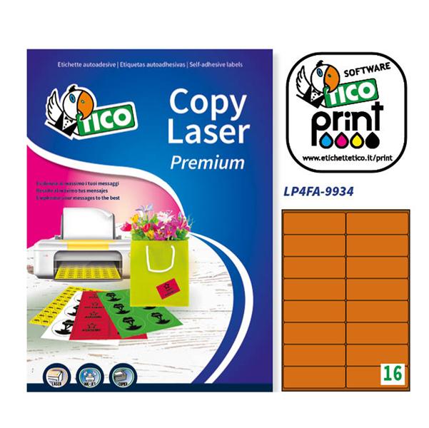 Etichetta adesiva LP4F - permanente - 99,1x34 mm - 16 etichette per foglio - arancio fluo - Tico - conf. 70 fogli A4