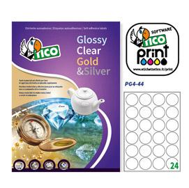 Etichetta adesiva PG4 - permanente - tonda ø 44 mm - 24 etichette per foglio - bianco lucido - Tico - conf. 100 fogli A4