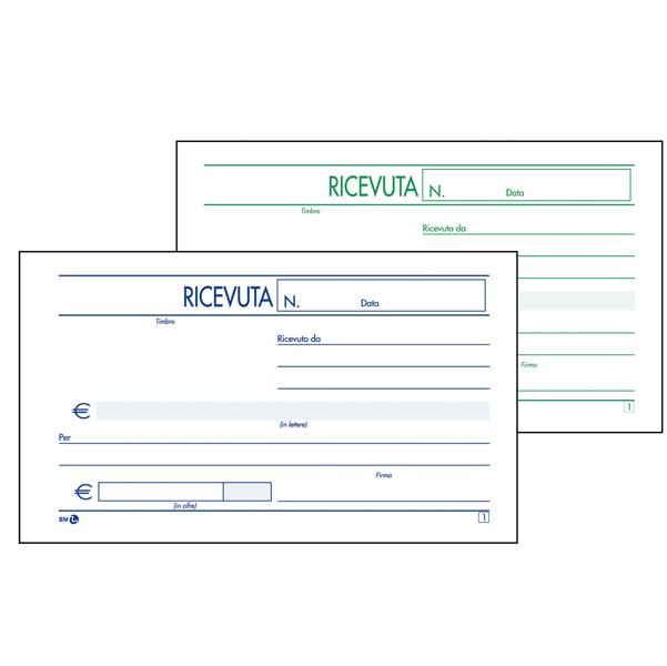 Blocco ricevute generiche - 2 copie autoricalcanti - 10 x 17cm - 50 fogli - BM