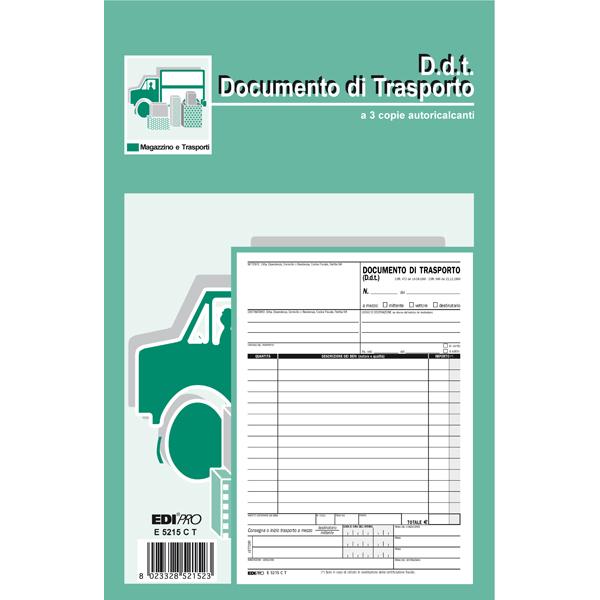 Blocco DDT - 33 fogli 3 copie autoricalcanti - 23 x 14,8cm - Edipro
