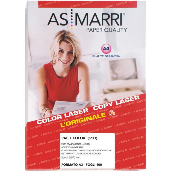 Adesivo poliestere - stampa laser - A3 - trasparente permanente lucido - As Marri conf. 100 fogli