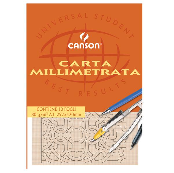 Blocco carta opaca millimetrata - 297x420mm - 10 fogli - 80gr - Canson