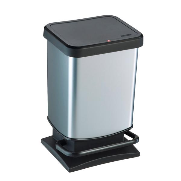 Pattumiera a pedale Paso - 29x27x46 cm - 20 L - PPL metallizzato - nero/argento - Rotho