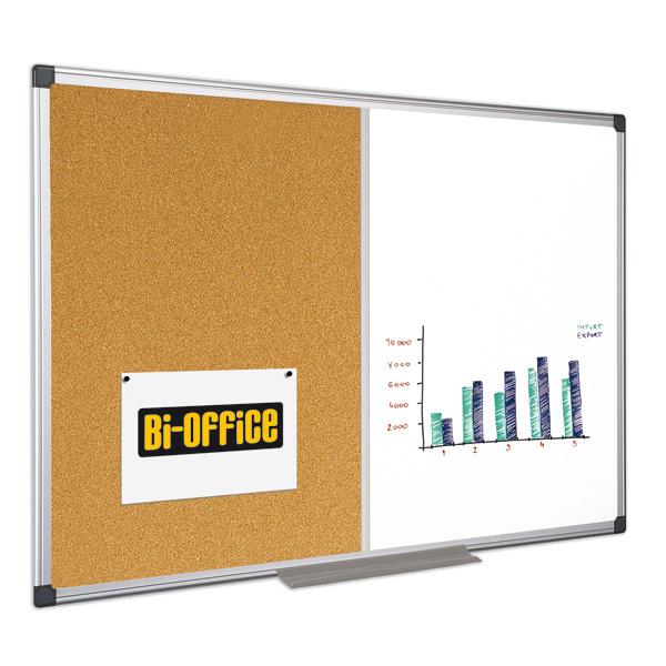 Lavagna combinata bianca/sughero - 90x120 cm - Bi Office