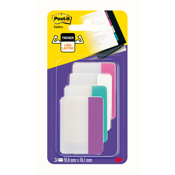 Segnapagina Post it® Index Strong - per archivio - 50,8x38,1 mm - rosa/bianco/turchese/viola - Post it® - conf. 24 pz