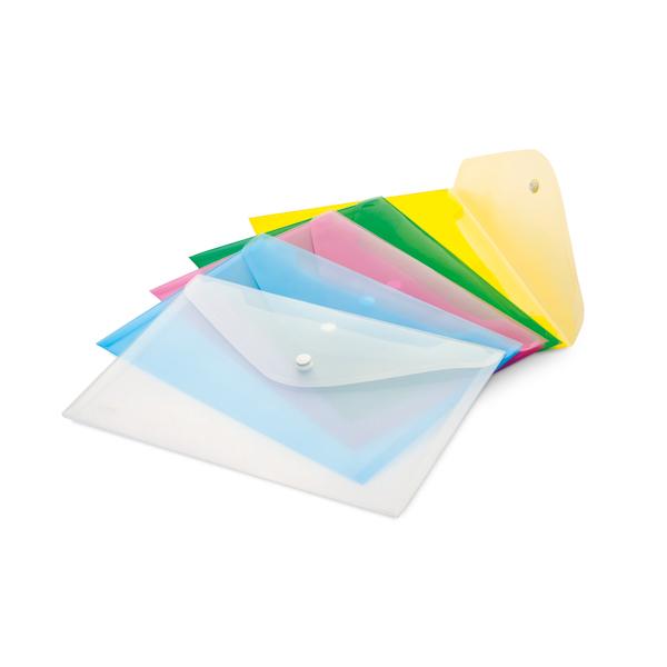 Buste con bottone - PPL - 33,5x23,5 cm - colori assortiti - Lebez - conf. 5 pezzi