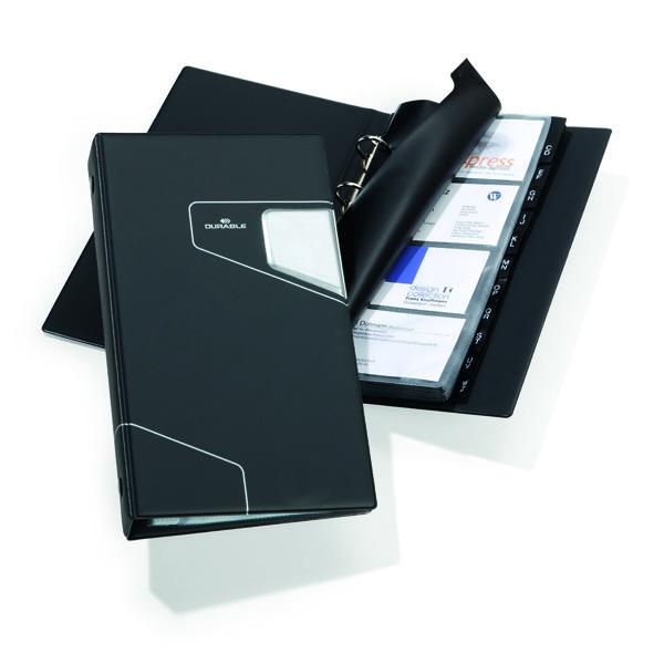 Porta biglietti da visita Visifix Pro - ad anelli - 200 posti - 14,5x25,5cm - antracite - Durable